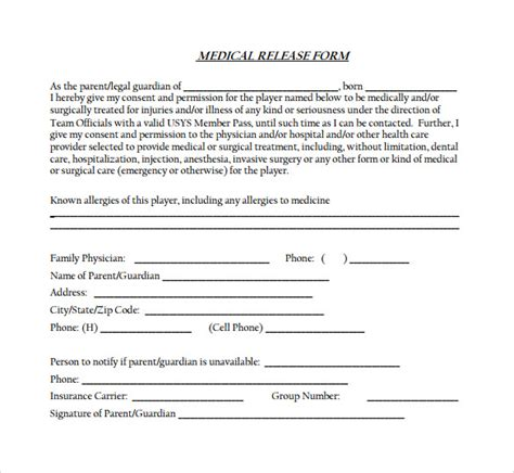 medical release form 11 free sles exles formats