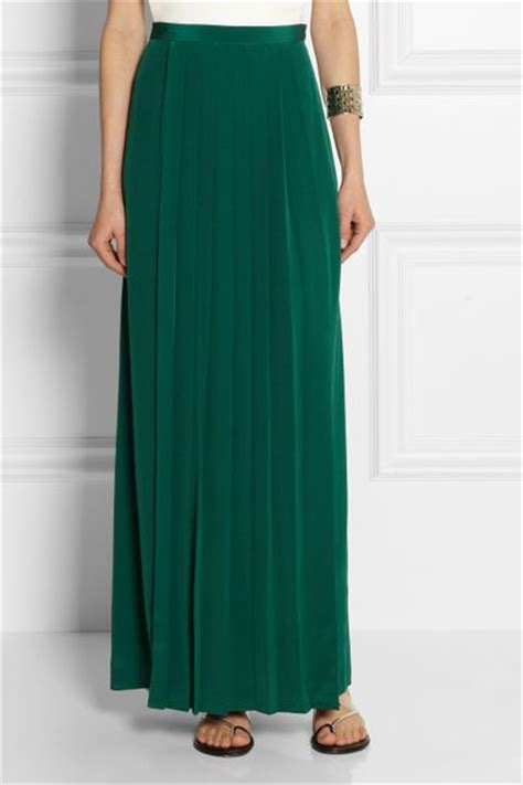 tibi pleated washed silk maxi skirt in green emerald lyst