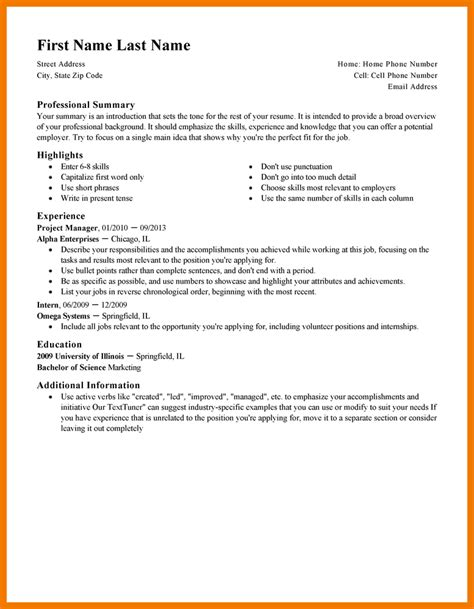 exles of short resumes best resumes