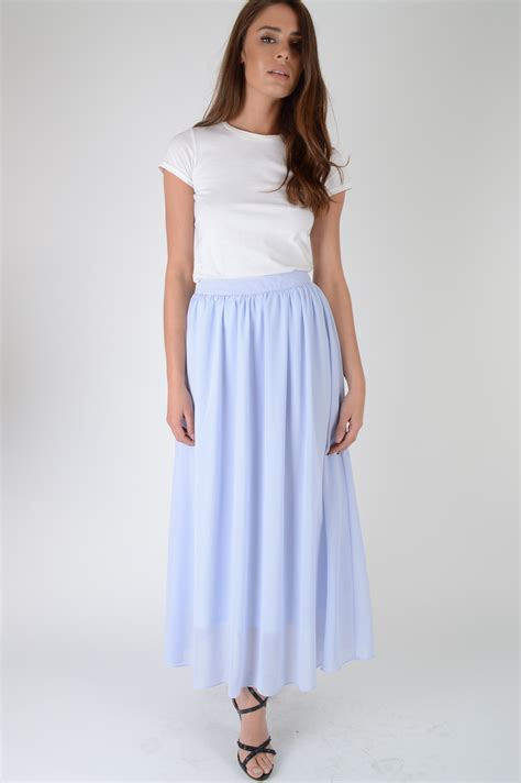 light blue midi lovemystyle light blue high waisted midi skirt