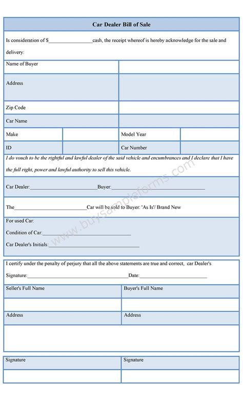 car dealer bill  sale form bill  sale template