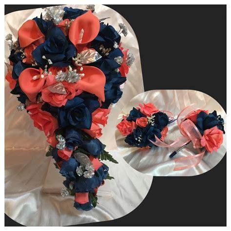 coral flowers coral navy blue coral navy blue marine calla cascade wedding bridal