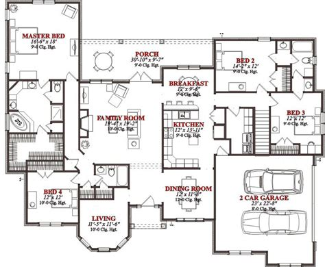 4 bed floor plans 4 bedroom house plans page 299
