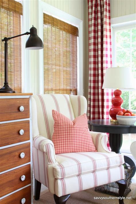 red and white buffalo check curtains pottery barn gramercy chair in american stripe