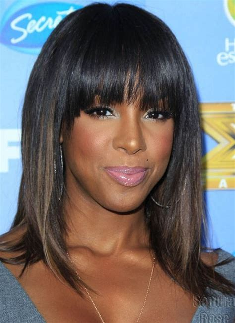 haircut for wispy hair kelly rowland hairstyles ombre medium haircut with wispy
