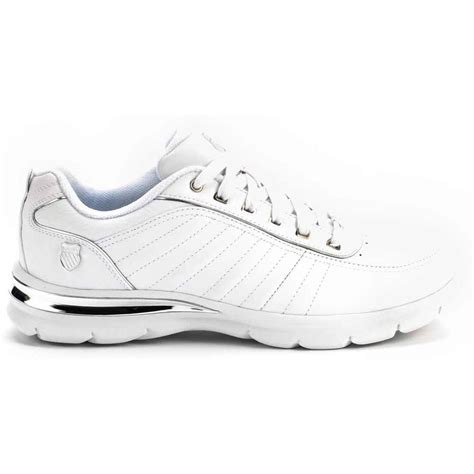 Comfort Tennis Shoes by K Swiss Court Le Comfort White Silver Mens Tennis Shoes