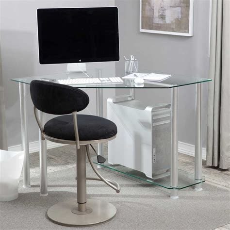 Small Glass Top Computer Desk Small Computer Desk For Office Space Saver My Office Ideas