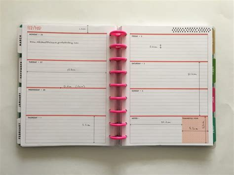 free printable planner pages classic size mambi happy planner horizontal dimensions measurements