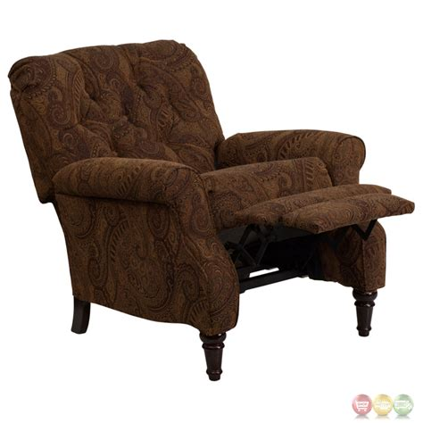 tufted recliner chair traditional tobacco fabric tufted hi leg recliner
