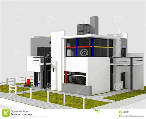 rietveld schrã der house plan rietveld schroder east view stock illustration image 40285071