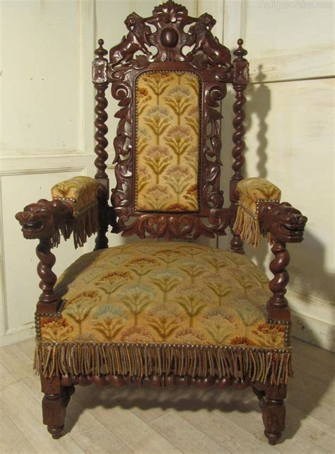 stunning victorian gothic carved oak throne chair