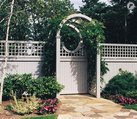 Arched Trellis Fence Topper arched arbor with moon gate and trellis fence topper garden walls