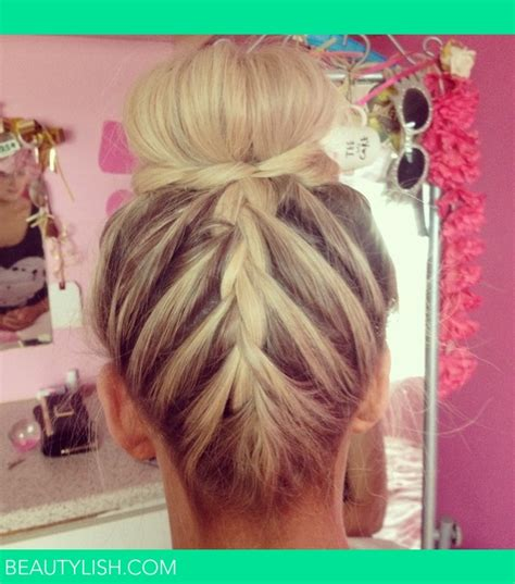 bun with braid around it how to french braid bun robyn m s photo beautylish