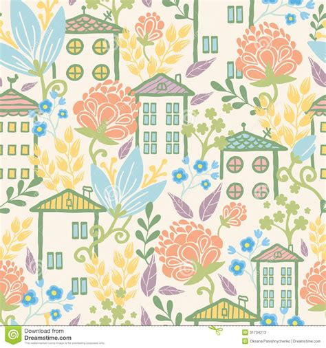 flowers seamless pattern element vector background houses among flowers seamless pattern background stock
