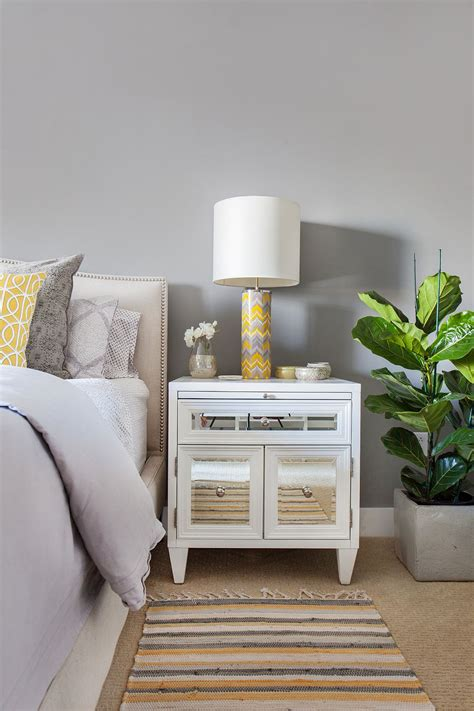 Yellow Bedside Table Bedside Table L With Yellow And Gray Chevron Pattern