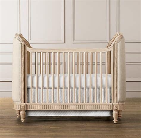 upholstered crib distressed linen