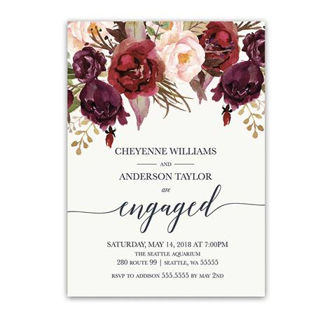 Wine And Gold Template Wedding Invitation Card Sle floral engagement invitations burgundy wine blush