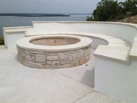 www benches com round stucco bench and firepit