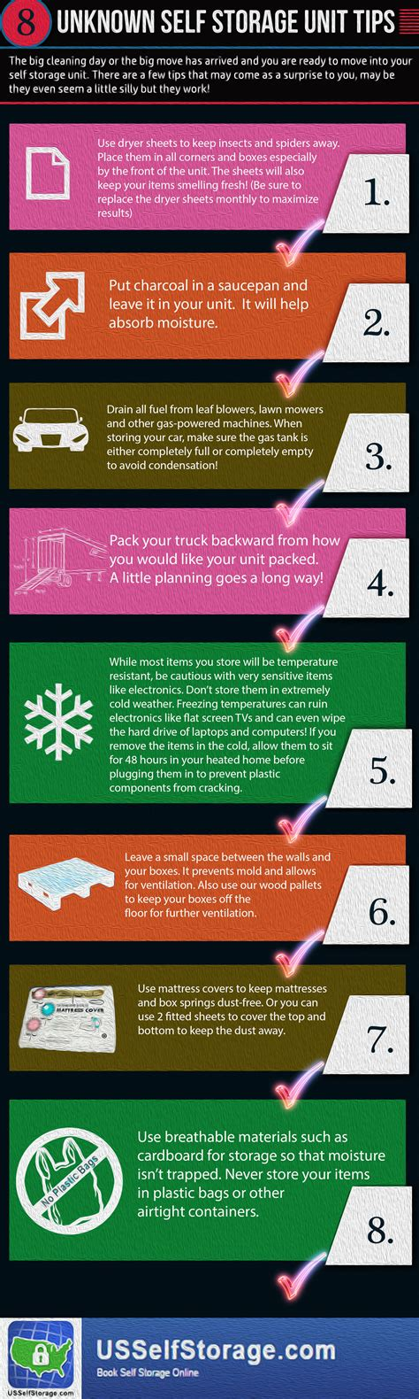 storage tips unknown self storage tips and tricks infographic