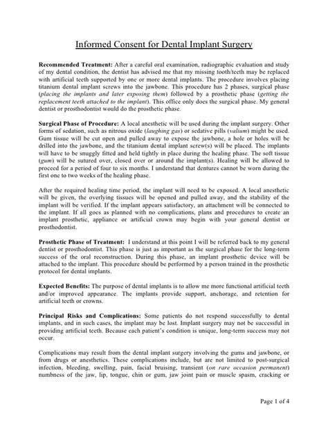 Informed Consent For Dental Implant Surgery Doc Dental Informed Consent Form Template