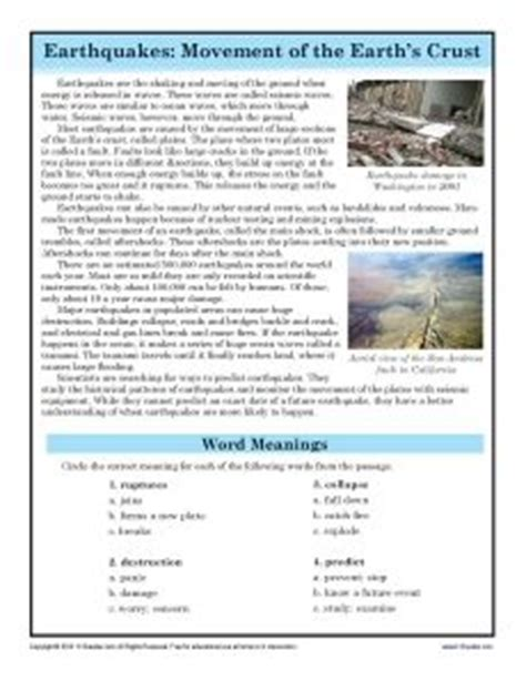 7th Grade Reading Comprehension Worksheets With Answers by Earthquakes To Be Words And Comprehension