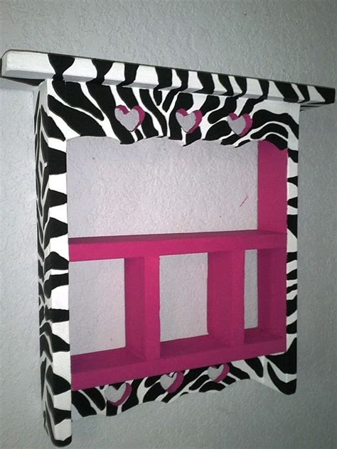 Lnice 28 Pink Leopard pink and zebra wall curio hanging shelf shelves pink and