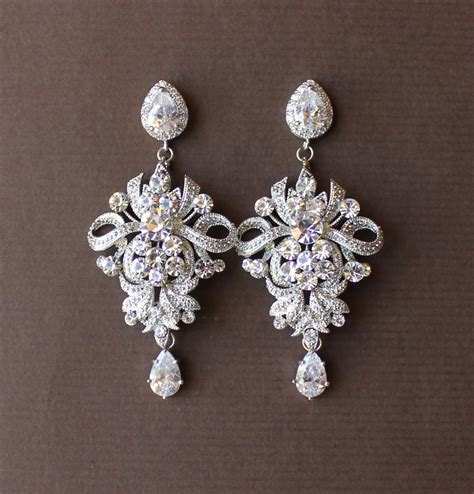 wedding chandelier earrings bridal earrings by