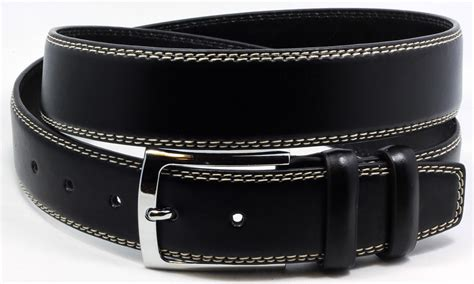 mens belt bonded leather italy style black w white