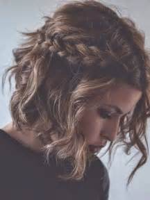 Messy hairstyles for short wavy hair short hair with braids via