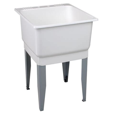 wash clothes in bathtub mustee utilatub 23 in x 25 in polypropylene floor mount laundry tub 14 the home depot