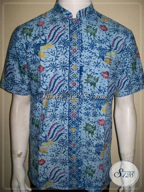 985 Kain Batik Cap Kode Abza40 kemeja batik kerah shanghai modern ukuran kecil untuk anak muda kalem dan elegan baju batik