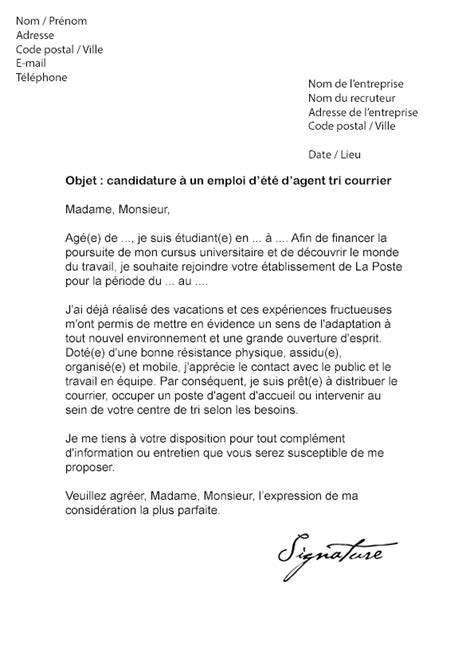 Lettre De Motivation Poste Responsable Exemple Lettre De Motivation Pour La Poste Facteur
