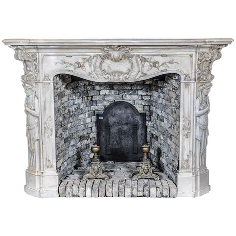 Fireplace Mantel Pieces by Carved 19th Century Rococo Statuario Marble