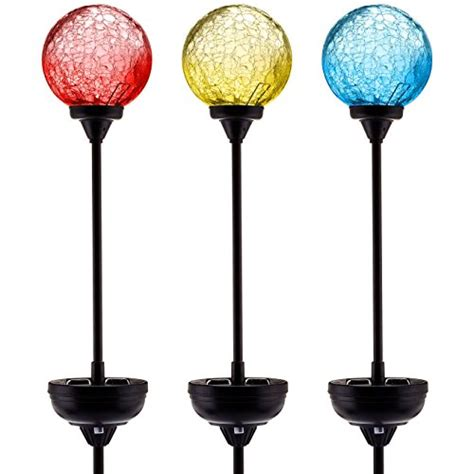 garden stake lights solar garden stake lights 3 pack cracked glass led outdoor import it all