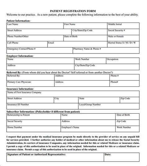 new patient form template new patient registration forms search engine at
