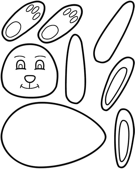 free printable easter coloring pages crafts easter bunny paper craft black and white template