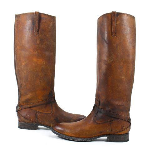 frye boots frye lindsay plate leather boots cognac shoes 7 5