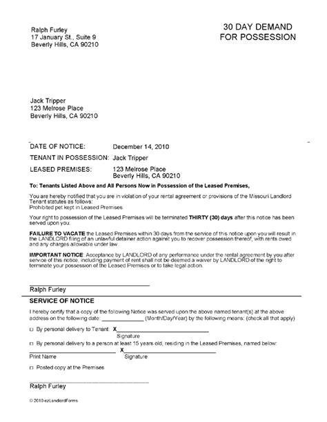 Missouri Service Letter Exle 30 Day Eviction Notice Real Estate Forms