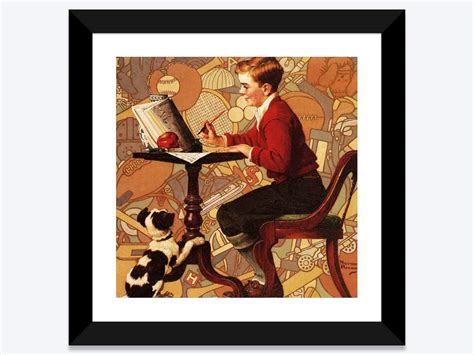 Boy Reading Sears Catalogue Framed Art Print by Norman