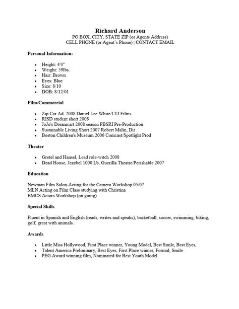 actors cv template free child actor resume template templates resume exles