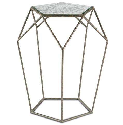 Geometric Side Table Zin Geometric Industrial Antique Mirror Bronze Side Table Kathy Kuo Home