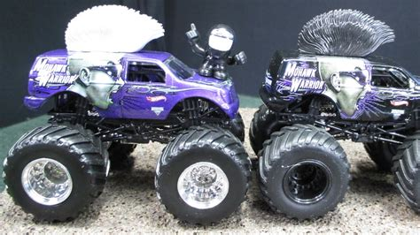 mattel jam trucks jam mohawk warrior purple truck with silver hair