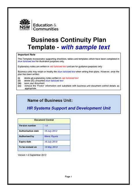 business continuity plan proposal summary and response