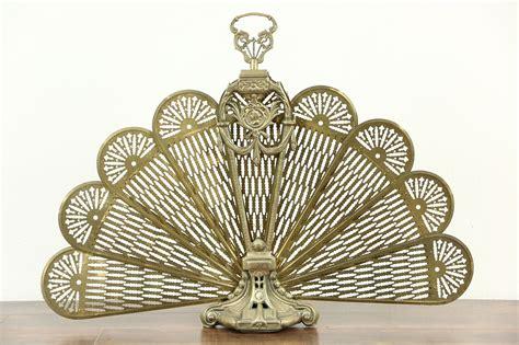 sold peacock fan brass vintage folding fireplace screen harp gallery