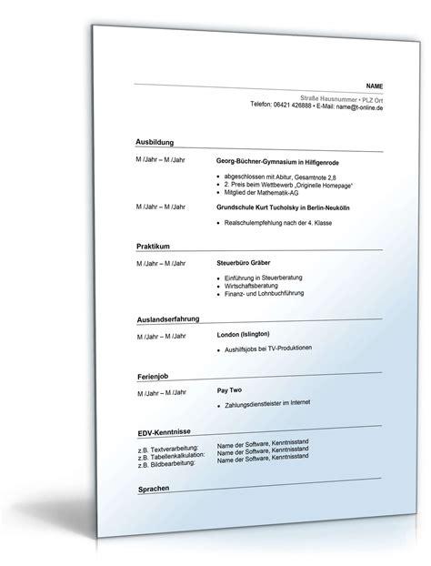 Tabellarischer Lebenslauf Vorlage Agentur F R Arbeit Lebenslauf Abiturient Ausbildungsplatz Muster Zum