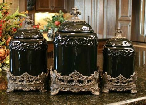 black ceramic canister sets kitchen black onyx design canister set kitchen tuscan
