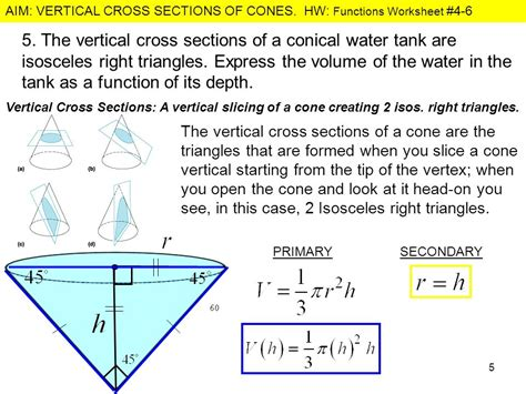 vertical cross section of a cone what is the relationship between the radius of the base