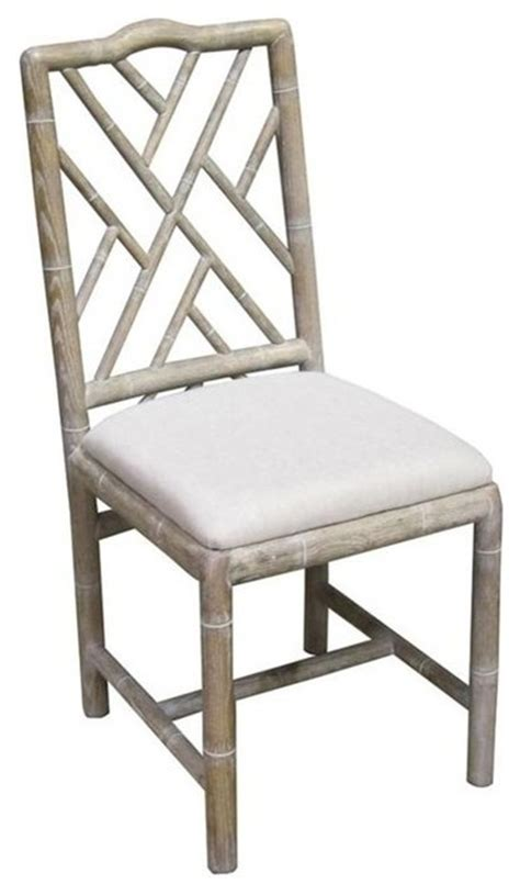 White Washed Bamboo Dining Chairs Set Of Four Asian White Washed Dining Chairs