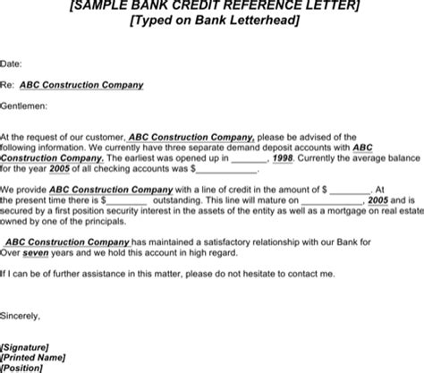 Credit Letter From Bank Sle Credit Reference Letter Templates For Excel Pdf And Word