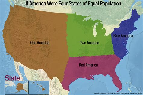 map of the united states broken down into regions if every u s state had the same population what would